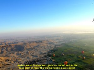 Aerial view of Thebes Necropolis and fertile flood plain of River Nile