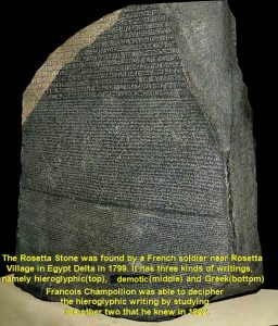 The Rosetta Stone was found in Egypt Delta in 1799 and Champollion was able to decipher the Egyptian hieroglyphic writing in 1822 inscribed on it.
