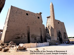Facade of the Temple of Ramesses II(1279-1213 B.C.) in the Luxor Temple Complex