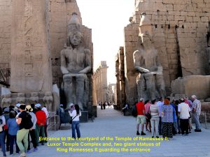Entrance to the Temple of Ramesses II flanked by the statues of Ramesses II in Luxor Temple Complex