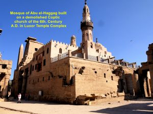 Mosque of Abu el-Haggag built on a demolished Coptic church in the Luxor Temple Complex
