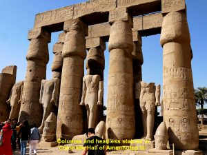 Columns and statues in the Courtyard of Amenhotep III, Luxor Temple Complex