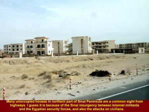 Unoccupied houses along highways in northern Sinai Peninsula due to Sinai insurgency