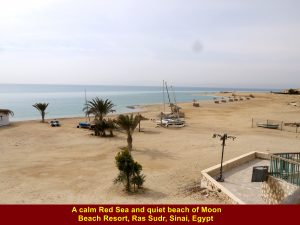 Calm Red Sea and quiet beach of Moon Beach Resort, Ras Sudr, Sinai Peninsula