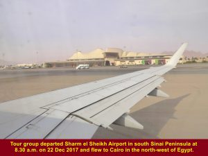 Tour group leaving Sharm el Sheikh Airport in south Sinai Peninsula for Cairo in the north-west in Egypt