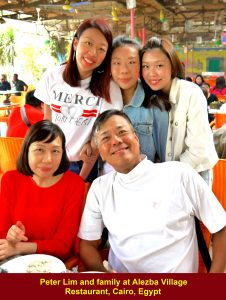 Peter Lim and family at Alezba Village Restaurant, Cairo