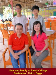 Liew and family at Alezba Village Restaurant. Cairo