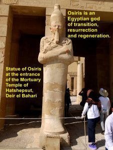 Statue of Osiris at the entrance of Mortuary Temple of Hatshepsut, Deir el Bahari, West Luxor