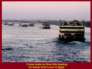 Cruise boats on River Nile heading for Aswan from Luxor in Egypt
