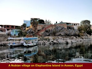 A Nubian village on Elephantine Island as seen from River Nile, Aswan
