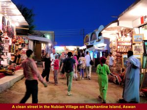 Another brightly-lit business street in the Nubian village