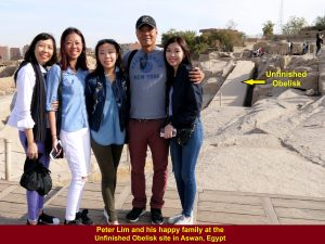 Peter Lim and his happy family at the Unfinished Obelisk site, Aswan, Egypt