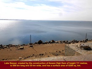 Lake Nasser, an artificial lake created by the construction of the Aswan High Dam in Egypt
