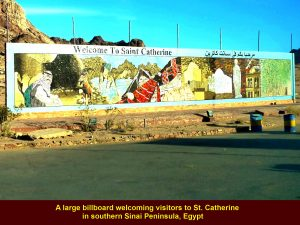 A large billboard welcoming visitors to St. Catherine in South Sinai Peninsula