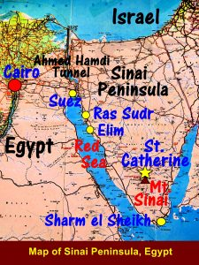Map showing the places in Sinai Peninsula tour members were going to visit