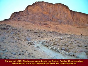According to the Book of Exodus, Moses went to the Mt. Sinai summit to receive the Ten Commandments from God