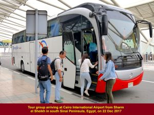 Tour group arriving at 9.40 a.m. at Cairo International Airport from Sharm el Sheikm, Sinai Peninsula