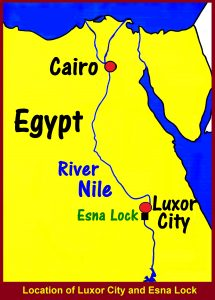 Map showing the location of Luxor City and Esna Lock in Egypt