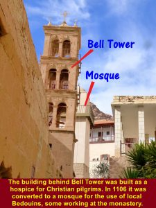 Building behind Bell Tower was converted to a mosque for the use of the local Bedouins in 1106, some working for the monastery.