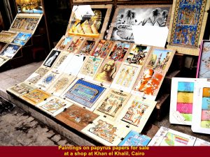 Paintings on papyrus papers for sale at Khan el Khalil Bazaar, Cairo