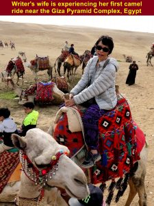 Writer's wife is experiencing her first camel ride in Sahara Desert, Egypt
