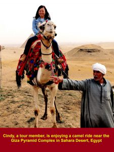 Cindy, a tour member, loves camel riding. too.