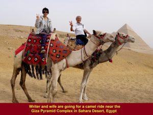 Writer and wife enjoying the camel ride in Sahara Desert, Egypt