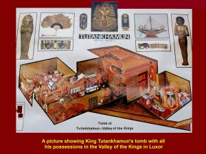 Picture showing King Tutankhamun's tomb with his possessions in the Valley of Kings, Luxor